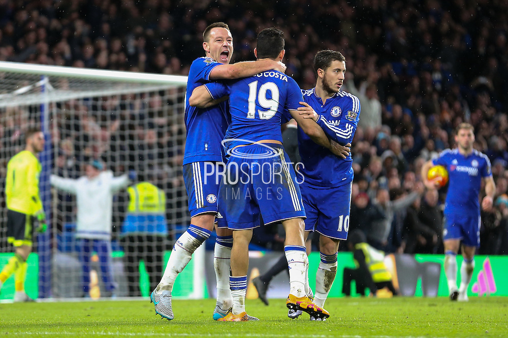 Chelsea's John Terry, Chelsea's Diego Costa and Chelsea's Eden Hazard celebrate during the Barclays Premier League match between Chelsea and Manchester United at Stamford Bridge, London, England on 7 February 2016. Photo by Ellie Hoad.