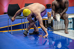 October 11, 2018 - Jakarta, Jakarta, Indonesia - Jakarta, Indonesia, 11 October 2018 : Two Paraswimmer athletes after the competition. Paraswim compettition at Aquatic Building in Gelora Bung Karno Jakarta on Asian Paragames 2018 Competition. (Credit Image: © Donal Husni/ZUMA Wire)