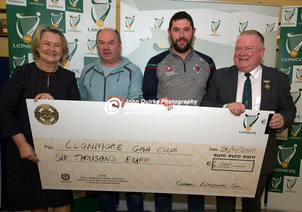 20-01-20. Leinster GAA Club Development Grant Cheque Presentations (See Press Release) at Aras Laighean, Portlaoise.<br /> GAA National Finance Manager Kathy Slattery and Jim Bolger (Right), Cathoirleach, Comhairle Laighean pictured presenting a cheque for €6,000 to Clonmore GAA Club. Co. Carlow represented by from left, Matthew Cullen, Treasurer and Clive Lambe, Secretary.<br /> Photo: John Quirke / www.quirke.ie<br /> ©John Quirke Photography, Unit 17, Blackcastle Shopping Cte. Navan. Co. Meath. 046-9079044 / 087-2579454.