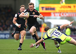 Exeter Chiefs Lachie Turner sprints forward on his way to scoring a try during the Aviva Premiership match at Sandy Park, Exeter.
