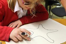 Girl touching shell drawing using xxxx raised technique Mysight Nottingham