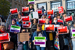 Edinburgh, Scotland, UK. 22nd October 2021. Scottish feminists stage a demonstration outside NHS Scotland offices at Waverleygate and John Lewis store in Edinburgh to protest that these organisations are paying the charity Stonewall for advice on how to create an inclusive workplace which does not differentiate between trans women and women.  Stonewall also ranks employers on the degree of diversity and inclusiveness that they provide. Scottish feminists protest that Stonewall does not protect women's rights and allows trans men to access women only spaces and be employed in women only jobs. Pic; Feminists protest outside St James Quarter where John Lewis is based. .   Iain Masterton/Alamy Live News.