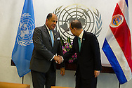 Luis Guillermo Solis Rivera, the President of Costa Rica, with United Nations Secretary General, Ban ki Moon.