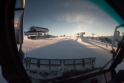 Riding the Prinhof Beast Grooming Snowcat, Sun Valley, Idaho, US