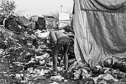 The Jungle. Migrant Camp, Calais, France.<br /> Half of the camp was demolished earlier this year, but many of the migrants have been reluctant to leave.<br /> April 2016