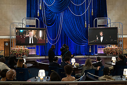 Florian Zeller (R) remotely accepts the Oscar® for Adapted Screenplay during the live ABC Telecast of The 93rd Oscars® at Union Station in Los Angeles, CA, USA on Sunday, April 25, 2021. Photo by Todd Wawrychuk/A.M.P.A.S. via ABACAPRESS.COM