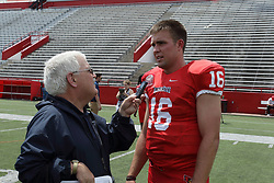01 August 2017:   Jake Kolbe interviewed by Steve Robinson during 2017 Illinois State Redbirds Football Media Day at Hancock Stadium in Normal IL (Photo by Alan Look)