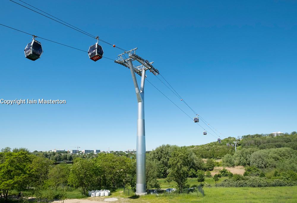Visitor cable cars at IGA 2017 International Garden Festival (International Garten Ausstellung) in Berlin, Germany