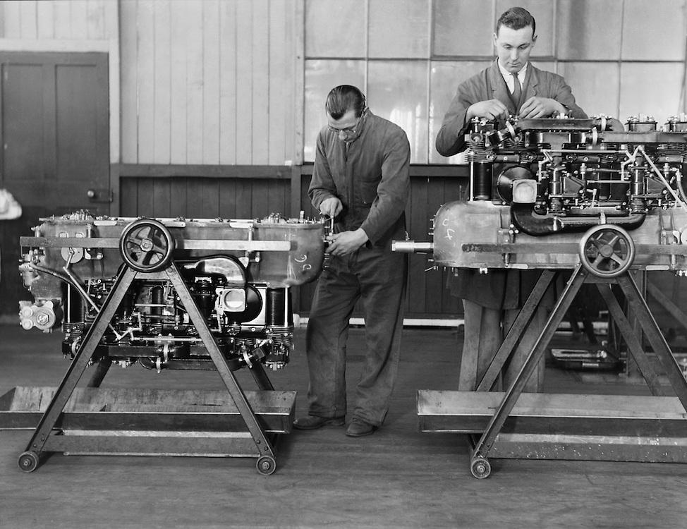 Workshop at Stag Lane, De Havilland Aircraft Factory, England, 1935
