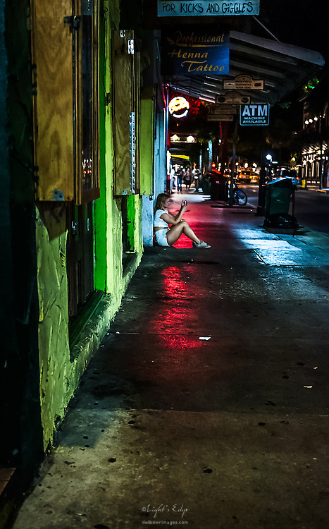 Sometimes, when all is said and done, you find yourself alone.<br /> Late night on Duval St. in Key West, Fl.