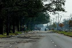 05 Sept  2005. New Orleans, Louisiana. Post hurricane Katrina.<br /> I-90, Chef Menteur Highway in Eastern New Orleans is deserted following the devastating hurricane.<br /> Photo; ©Charlie Varley/varleypix.com