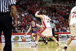 12 January 2008: Jason Holsinger makes a cut to the basket from the outside during a game in which  the Purple Aces of the University of Evansville lost to  the Redbirds of Illinois State on Doug Collins Court at Redbird Arena in Normal Illinois by a score of 74-66.
