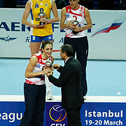 Vakifbank GS TT's Ozge Kırdar CEMBERCI (F) during their Women's Volleyball CEV Champions League semi final match at Burhan Felek Arena in Istanbul, Turkey on 20 March 2011. Photo by TURKPIX