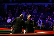 Jackson Page, the 16 year old amateur from South Wales ® shakes hands with Stuart Bingham of England after losing the 2nd round match .  ManBetx Welsh Open Snooker 2018, day three at the Motorpoint Arena in Cardiff, South Wales on Wednesday 28th February 2018.<br /> pic by Andrew Orchard, Andrew Orchard sports photography.