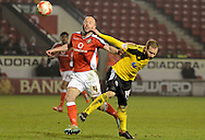 James O'Connor battles with Matt Done during the Sky Bet League 1 match between Walsall and Sheffield Utd at the Banks's Stadium, Walsall, England on 17 March 2015. Photo by Alan Franklin.