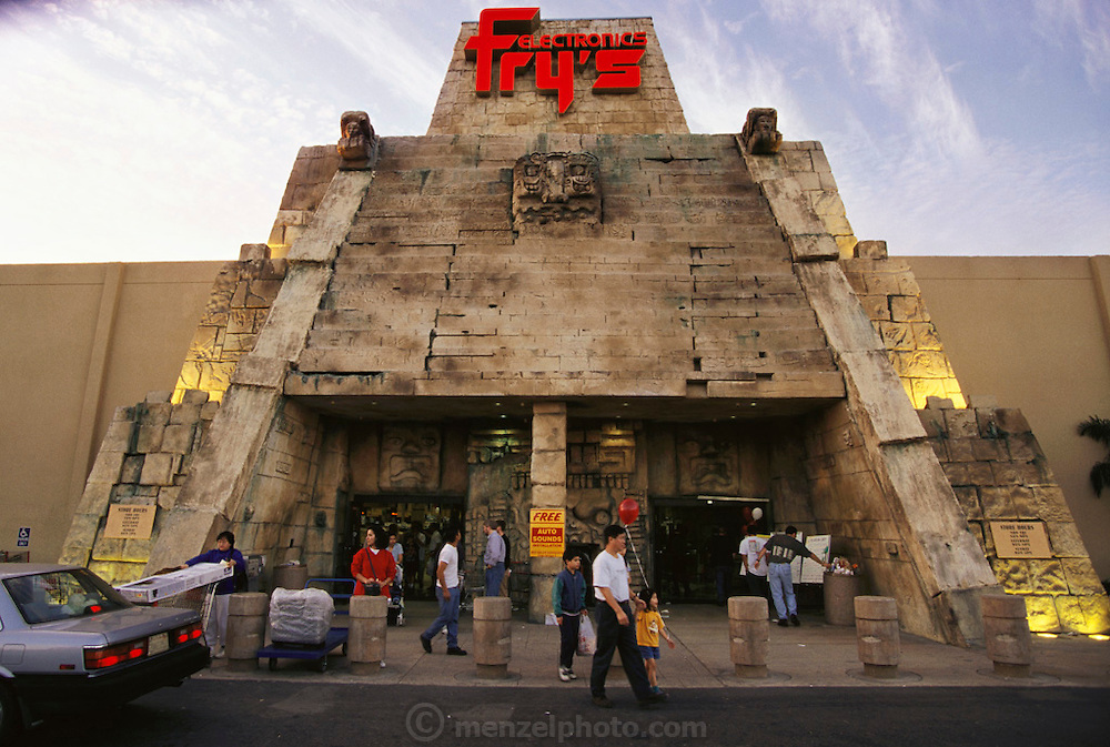 Silicon Valley, California; San Jose, California; Fry's electronic warehouse superstore in San Jose is themed like an Aztec temple. (1999).