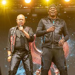 May 25, 2018 - Napa, California, U.S - RALPH JOHNSON and PHILIP BAILEY of Earth, Wind and Fire during BottleRock Music Festival at Napa Valley Expo in Napa, California (Credit Image: © Daniel DeSlover via ZUMA Wire)