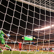 EAST RUTHERFORD, NEW JERSEY - JUNE 17: David Ospina #1 of Colombia reacts after saving a penalty in the penalty shoot out during the Colombia Vs Peru Quarterfinal match of the Copa America Centenario USA 2016 Tournament at MetLife Stadium on June 17, 2016 in East Rutherford, New Jersey. (Photo by Tim Clayton/Corbis via Getty Images)