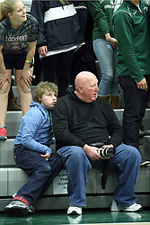 10 January 2015:  Thomas Dither and daughter during an NCAA mens division 3 CCIW basketball game between the Carthage Reds and the Illinois Wesleyan Titans in Shirk Center, Bloomington IL