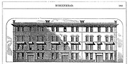 Low rental workmen's dwellings built by Birkenhead Dock Co. c1844: Architect CE Lang. Elevation showing block of 3 'houses' of 4 floors, each divided into 2 dwellings of living room, 2 bedrooms, washroom/scullery. Wood engraving c1860