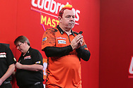 Peter Wright wins his quarter final tie against Dave Chisnall during the PDC Ladbrokes Masters 2021 at Marshall Arena, Milton Keynes, United Kingdom on 31 January 2021.