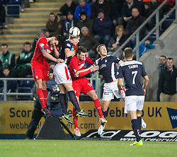 Falkirk's Peter Grant clears. Falkirk 1 v 1 Rangers, Scottish Championship game played 27/2/2014 at The Falkirk Stadium .