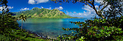 Panorama of Kahana Bay and the windward coast of Oahu, Hawaii
