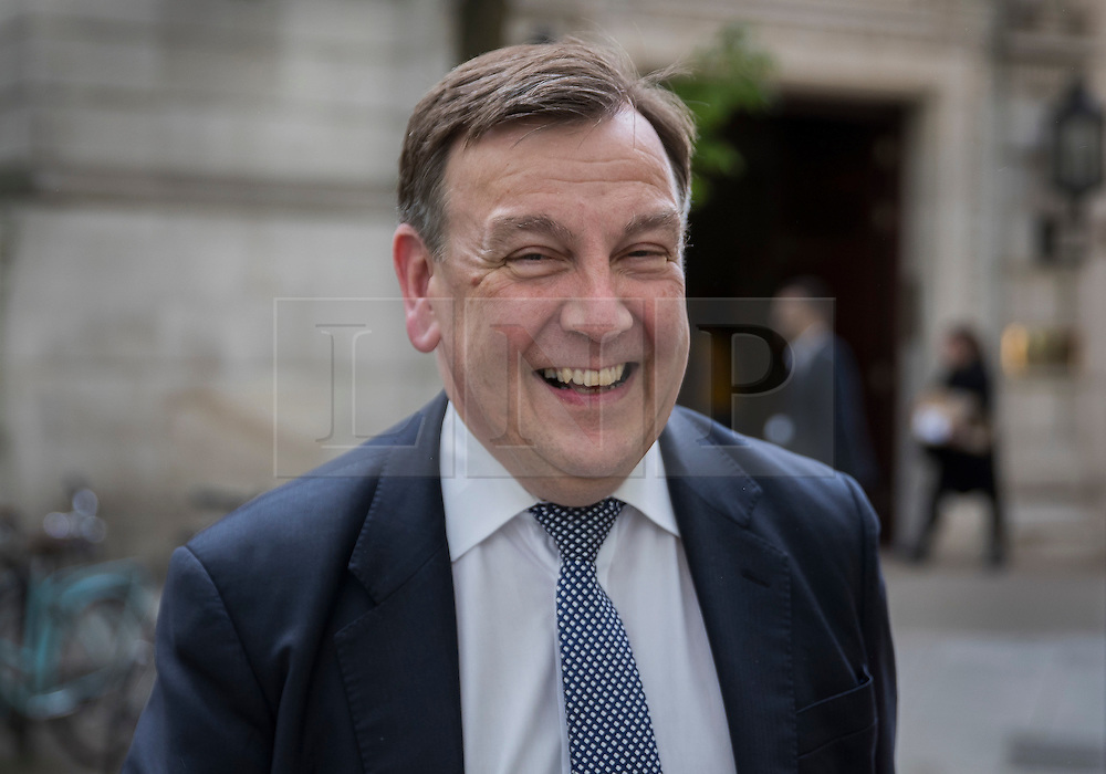 © Licensed to London News Pictures. 12/05/2016. London, UK. Culture Secretary John Whittingdale is seen in Westminster after announcing major changes to the governance of the BBC. Photo credit: Peter Macdiarmid/LNP