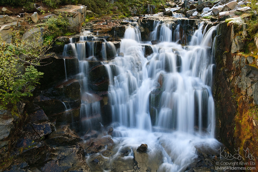 Sunbeam Creek forms a small, but wide waterfall in the Stevens Canyon area of Mount Rainier National Park in Washington state.