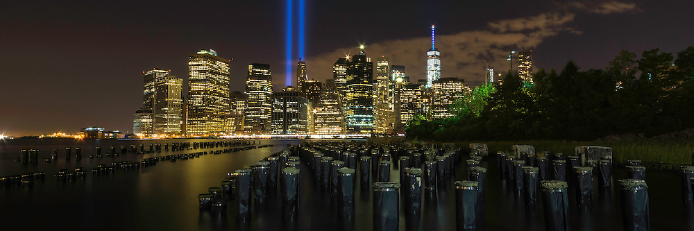 Panoramic view of the New York City skyline on September 11 as seen from Brooklyn Park.