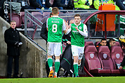 Brandon Barker (#20) of Hibernian replaces Vykintas Slivka (#8) of Hibernian during the William Hill Scottish Cup 4th round match between Heart of Midlothian and Hibernian at Tynecastle Stadium, Gorgie, Scotland on 21 January 2018. Photo by Craig Doyle.