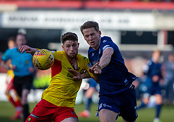 Partick Thistle's Jamie Barjonas and Dundee's Christophe Berra. Dundee 2 v 0 Partick Thistle, Scottish Championship game played 8/2/2020 at Dundee stadium Dens Park.