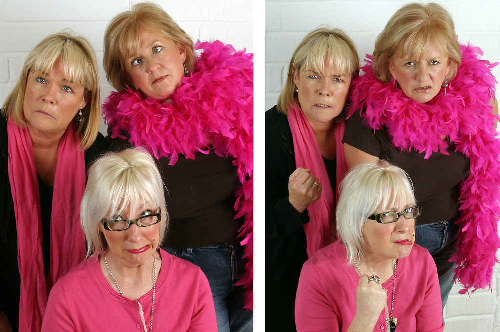 Jenny Éclair, Dillie Keane and Linda Robson  from the original cast of the BBC television series Grumpy Old Women.<br /> Client Breast Cancer Campaign