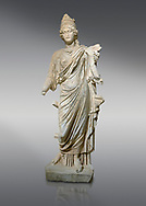 Roman statue of Tyche. Marble. Perge. 2nd century AD. Inv no . Antalya Archaeology Museum; Turkey.<br /> <br /> Tyche was the presiding tutelary deity who governed the fortune and prosperity of a city, its destiny. In Classical Greek mythology, she is the daughter of Aphrodite and Zeus or Hermes. .<br /> <br /> If you prefer to buy from our ALAMY STOCK LIBRARY page at https://www.alamy.com/portfolio/paul-williams-funkystock/greco-roman-sculptures.html . Type -    Antalya     - into LOWER SEARCH WITHIN GALLERY box - Refine search by adding a subject, place, background colour, museum etc.<br /> <br /> Visit our ROMAN WORLD PHOTO COLLECTIONS for more photos to download or buy as wall art prints https://funkystock.photoshelter.com/gallery-collection/The-Romans-Art-Artefacts-Antiquities-Historic-Sites-Pictures-Images/C0000r2uLJJo9_s0