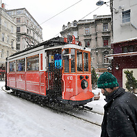 Istanbul, Turkey 17 February 2008<br /> A snow-covered Istanbul. <br /> Traffic on major roads, domestic flights and sea transportation was disturbed in Turkey on Sunday after heavy snowfalls across the country. <br /> On this picture: a tramway under the snow. Photo: Ezequiel Scagnetti