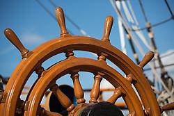 United States, Washington, Kirkland, wheel on tall ship
