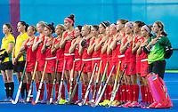 RIO DE JANEIRO  (Brazilië) -  USA tijdens de volksliederen de poulewedstrijd hockey dames Argentinie-USA  tijdens de Olympische Spelen <br /> Copyright Koen Suyk