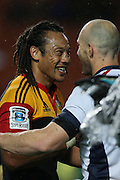 Tana Umaga chats with Stirling Mortlock after the Chiefs won 38-10   during the Investec Super 15 Rugby match, Chiefs v Rebels, at Waikato Stadium, Hamilton, New Zealand, Saturday 5 March 2011. Photo: Dion Mellow/photosport.co.nz