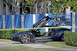 A BMW sits idle after reports of a shooting in Deerfield Beach involving Broward rapper XXXTentacion on Monday, June 18, 2018. The celebrity news site TMZ reports that the 20-year-old XXXTentacion, given name Jahseh Onfroy, was shopping for a motorcycle when a gunman ran up to his vehicle and shot him. Photo by John McCall/South Florida Sun Sentinel/TNS/ABACAPRESS.COM