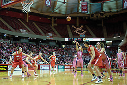 12 February 2012:  Chloe Nelson take a free shot during an NCAA women's basketball game Where the Bradley Braves lost to the Illinois Sate Redbirds 82-63.  It was Play 4Kay day in honor of the cancer research fund set up by Coach Kay Yow at Redbird Arena in Normal IL