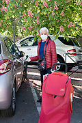 returning from food shopping during Covid 19 crisis and lockdown France Limoux April 2020