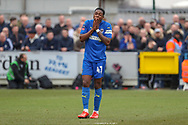AFC Wimbledon attacker Michael Folivi (41) with hands over mouth after a miss during the The FA Cup 5th round match between AFC Wimbledon and Millwall at the Cherry Red Records Stadium, Kingston, England on 16 February 2019.
