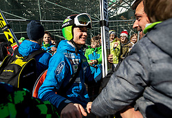 Anze Lanisek of Slovenia with fans during the Trial Round of the Ski Flying Hill Individual Competition at Day 1 of FIS Ski Jumping World Cup Final 2019, on March 21, 2019 in Planica, Slovenia. Photo by Vid Ponikvar / Sportida