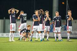 Falkirk players after Liam Rowan hits the bar.<br /> Falkirk beat Cowdenbeath in a penalty shoot-out, second round League Cup tie played at The Falkirk Stadium.