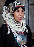 KYAING TONG, MYANMAR - CIRCA DECEMBER 2017: Portrait of an Akha woman in Kyaing Tong.