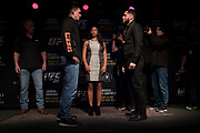 DALLAS, TX - MAY 10:  Demian Maia faces off with Jorge Masvidal during the UFC 211 Ultimate Media Day at the House of Blues Dallas on May 10, 2017 in Dallas, Texas. (Photo by Cooper Neill/Zuffa LLC/Zuffa LLC via Getty Images)