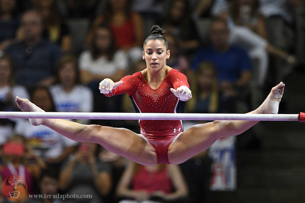 July 8, 2016; San Jose, CA, USA; Aly Raisman, Needham, MA, during the uneven bars in the women's gymnastics U.S. Olympic team trials at SAP Center.
