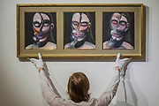 Francis Bacon, Three Studies for a Portrait, Est. GBP 10,000,000 - GBP 15,000,000 - Christie's unveil an exhibition of in advance of their Post War and Contemporary sale on 06 March.