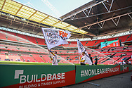 The FA flag bearers out on the pitch ahead of the FA Vase match between Stockton Town and Thatcham Town Wembley Stadium, London, England on 20 May 2018. Picture by Stephen Wright.