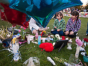 """15 JANUARY 2011 - TUCSON, AZ: ANGELINA ALVARADO, 6, (left) and her sister, LEIANNE ALVARADO, 7, from Chandler, AZ, light candles at the memorial on the lawn in front of the University Medical Center in Tucson, AZ, Saturday, January 15. The memorial has been growing since the mass shooting last week. Six people were killed and 14 injured in the shooting spree at a """"Congress on Your Corner"""" event hosted by Congresswoman Gabrielle Giffords at a Safeway grocery store in north Tucson on January 8. Congresswoman Giffords, the intended target of the attack, was shot in the head and seriously injured in the attack. She is hospitalized at UMC. The alleged gunman, Jared Lee Loughner, was wrestled to the ground by bystanders when he stopped shooting to reload the Glock 19 semi-automatic pistol. Loughner is currently in federal custody at a medium security prison near Phoenix.  Photo by Jack Kurtz"""